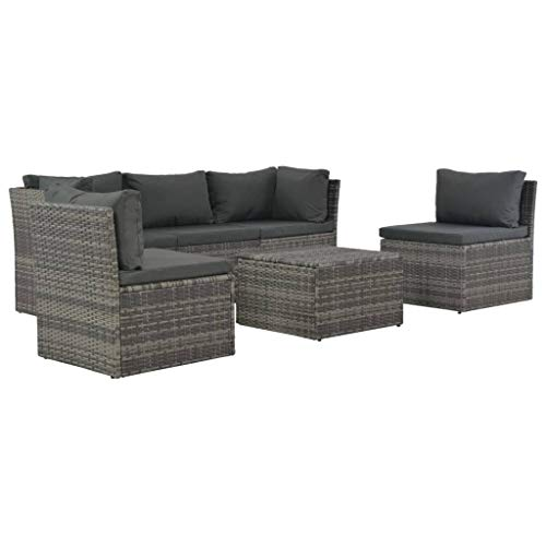 vidaXL 4-Piece Garden Sofa Poly Rattan Garden Furniture Set Lounge