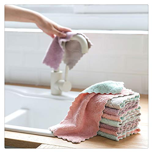 Dish Cloth for Washing Dishes Velvet Dish Rags Best Kitchen Cloths Cleaning Cloths Washcloth,Perfect for Kitchens, Dishes, Car, Dusting, Drying Rags,10.6 * 6.3In, 4/8 Pcs (2 * 4 Colors, 8 Pcs)