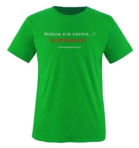 Comedy Shirts - KOPFKINO - Oscar - Kinder T-Shirt - Grün/Weiss-Rot Gr. 134-146