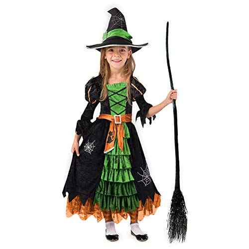 Fairytale Green Cute Witch Dress Halloween Costume Deluxe Set with Hat for Girls (S)