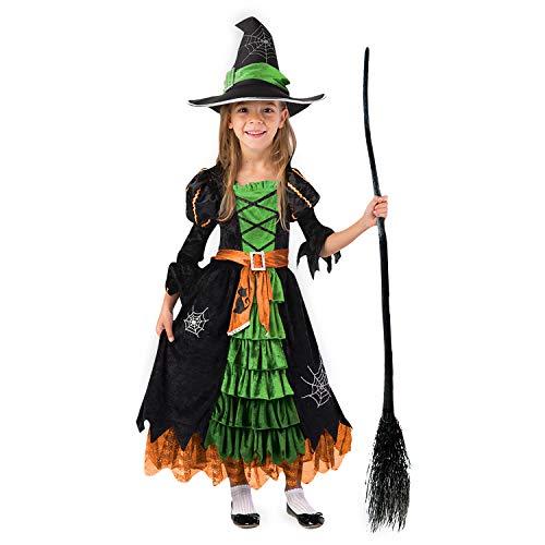 Spooktacular Creations Disfraz de Bruja Verde de Cuento de Hadas con Sombrero para niñas (Verde, Medium)