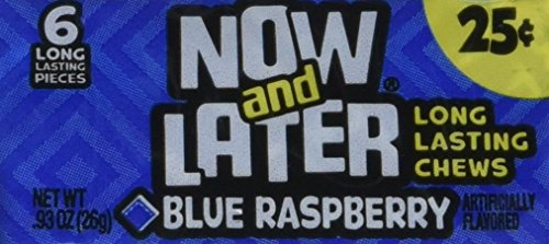 Now & Later Original Taffy Chews Candy, Blue Raspberry, 0.93 Ounce Bar, Pack of 24