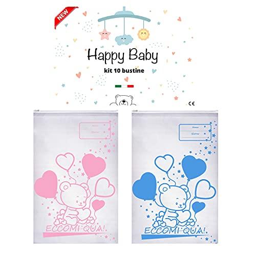 Happy Baby 10 bustine corredino neonato ospedale,trasparenti,borsa cambio,sacchetto asilo,idee regalo mamma (-AZZURRO)