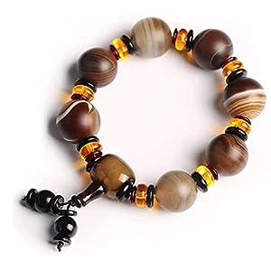 JAXRY Dzi Perlen Spitze Achat Reichtum Buddhistisches Armband Männer Amulettarmband Glück für die meisten Menschen tragen