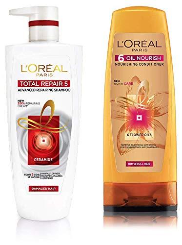 L'Oreal Paris Total Repair 5 Shampoo, 1 Litre and L'Oreal Paris 6 Oil Nourish Conditioner, 175ml (With 10% Extra)