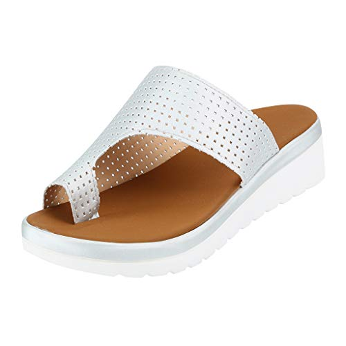 TWIFER Slipper Damen Dicke Untere Sandale Schuhe Keilabsatz Sandalen Clip Toe Sommer Strandschuhe