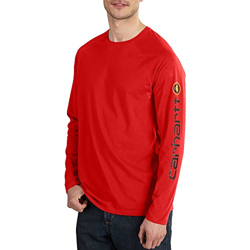 Carhartt Men's Force Cotton Delmont Sleeve Graphic T Shirt, Electric Red, X-Large