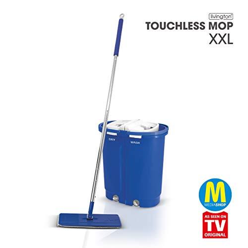Mediashop Livington Touchless Mop Deluxe XXL – Bodenwischer Set mit Eimer zum Auswringen ohne Bücken – Wischmopp für einfache Reinigung und saubere Hände – 7 L Wischeimer