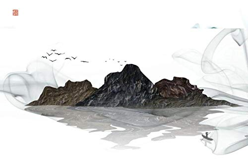 Fotomurales 3D Papel Pintado Pared Pico De Montaña De Piedra Abstracta Pájaro Volador Papel Pintado Fotográfico Mural Salón Dormitorio Decoración de Paredes Wallpaper 350cmx256cm