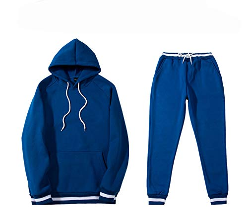 Hombre Casual Espesado chándal 2 Piezas más Cachemira Espesa de Cobertura Sudadera + Pantalones Blue-L