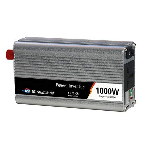 Nicoone Inversor de Corriente de 12V CC a 220V CA Convertidor de Potencia de 1000W con Salida de CA Puerto USB