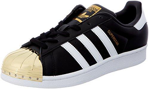 adidas Damen Superstar W Metal Toe BB5115 Trainer Low, Core Black/Footwear White/Gold Metallic, 38 2/3 EU