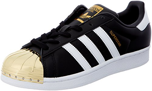 adidas Damen Superstar Metal Toe Trainer Low, Schwarz (Core Black/Footwear White/Gold Metallic), 42 EU