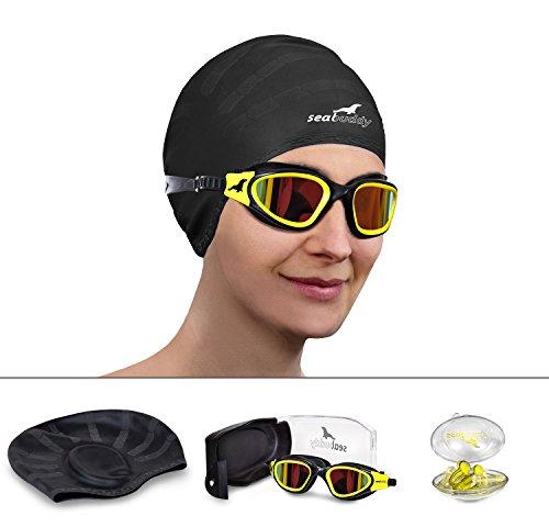SealBuddy Premium Swim Gear - Swim Goggles + Swim Cap + Swim Ear & Nose Plugs (Yellow Coral, Red Smoked Mirror)