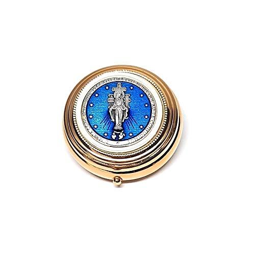 DELL'ARTE Artículos religiosos, caja para rosario de latón dorado de 5 cm con placa esmaltada Virgen delle Grazie