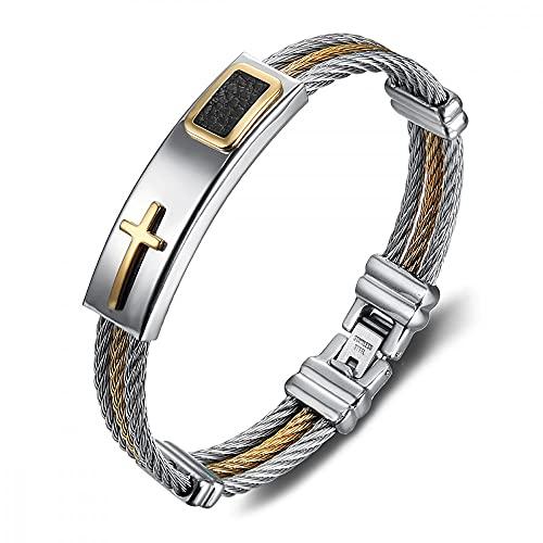 BOBIJOO JEWELRY - Pulsera de Cadena de Frenar 3 Colores Plata y Oro de Titanio Negro de Acero Inoxidable