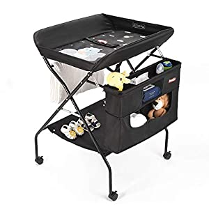 Mobile Baby Changing Table with Wheels, FORSTART Adjustable Height Folding Diaper Station Portable Newborn Clothes Stand with Nursery Organizer & Storage Rack for Infant