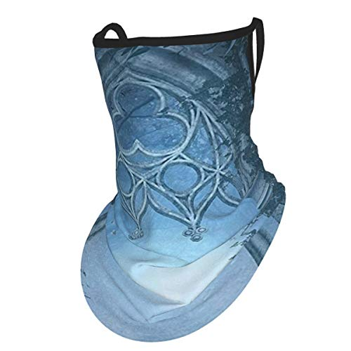 Fantasy House Decor Passage Doorway Through Enchanted Foggy Magical Palace Garden Night Scenery Navy Grayear Hangers Uv Protection Neck Gaiter Scarf, Outdoor Headband For Fishing Cycling Hiking