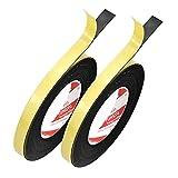 Guarnizione di Tenuta in Schiuma 2 Rotolo 10 Metri Guarnizione Autoadesiva Nastro per Porte Finestre Paraspifferi Insonorizzatore