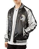 [イナセ] サテン 和柄 刺繍 メンズ スカジャン ブルゾン リブライン入り 男女兼用 ジャケット 11-白龍虎ブラック Mサイズ
