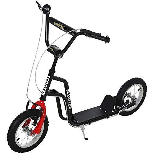HOMCOM Kinderroller Lenker Verstellbar Scooter Tretroller Cityroller Kinder Roller Kickboard mit Luftreifen 12 Zoll ab 5 Jahre Schwarz 120 x 58 x 75-80 cm
