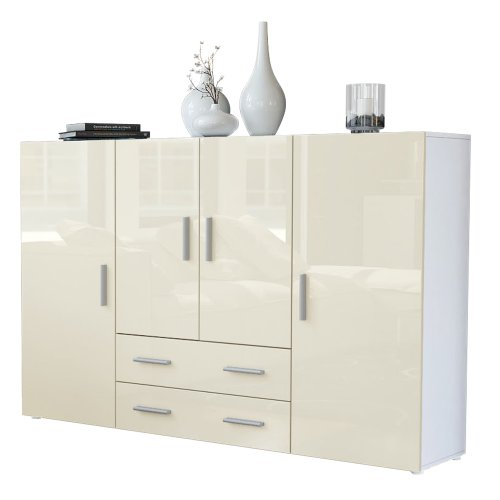 Vladon Highboard Sideboard Nora, Korpus in Weiß matt/Front in Creme Hochglanz