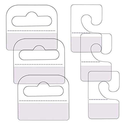 SnowTing 120Pcs Self Adhesive Plastic Hang Clear Tabs Hooks Display Card for Store Retail Display Slat Wall Hook Hangers, J-Hook & Slot Hole Pegboard Hang Tabs 2 Styles - Multiple Pack