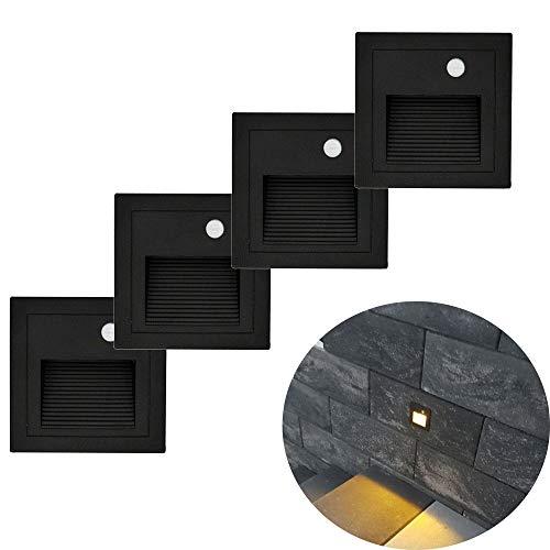 Arote 4er Set 3W LED Treppenlicht mit Bewegungsmelder Wandeinbauleuchte Wandleuchte Wandeinbaustrahler Stufenlicht Beleuchtung Lampe, innen aussen, schwarz, Alu, 230V warmweiß 3000K IP65, Body Sensor