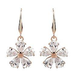 Five-Leaf Flower Crystal Drop Earring