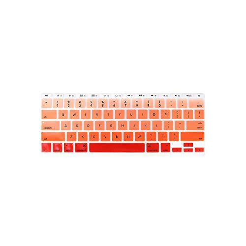 F-pump Protector de silicona para teclado ultra delgado y gradual Rainbow Candy impermeable para MacBook Air de 11 pulgadas y 11.6 pulgadas, color naranja