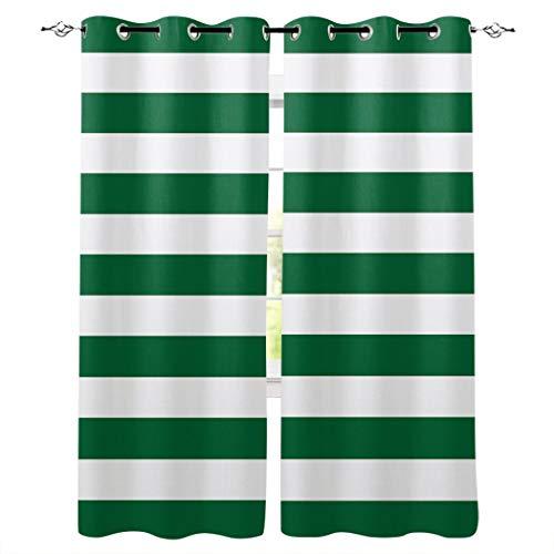 YUANCHENG Rayas Verdes Cortinas de Cocina Artículos de decoración de Dormitorio Panel de Cortina Cortinas de Ventana para Sala de Estar