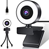 JSTH USB PC Webcam with Mic, Adjustable Ring Light 1080P HD Webcam with Free Tripod and Advanced Autofocus for Mac, Laptop, Support Youtube,Zoom,Skype,Xbox One,Studying and Conference, Plug & Play