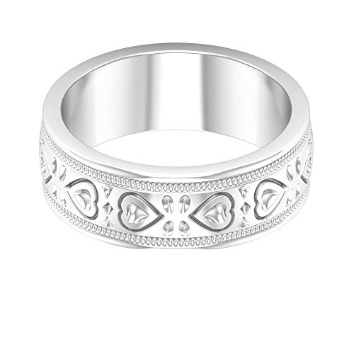 Personalized Gold Engraved Filigree Vintage Love Statement Ring, Antique Promise Matching Anniversary Ring, Gold Beaded Heart Shape Stacking Band Ring, 18K White Gold, Size:UK X