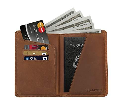 Habitoux, RFID Blocking Passport Holder Travel Wallet - Genuine Crazy Horse Leather, Brown, Free
