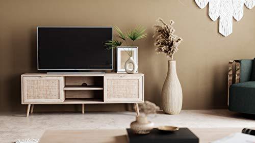 Newfurn TV Lowboard Sonoma Eiche Rattan Optik TV Schrank Modern Skandinavisch - 150x52x40 cm (BxHxT) - Fernsehtisch TV Board Rack Boho - [Mila.Eight] Wohnzimmer - 5