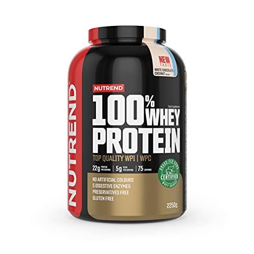 Nutrend 100% Whey Protein - Concentrato di Proteine del Siero di Latte - Costruzione Muscolare - Integratore per Culturisti - Aminoacidi - BCAA - Confezione da 1 x (White Chocolate Coconut, 2250g)