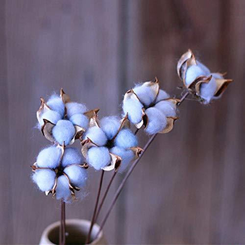 Flores Artificial Artificial Colorido Algodón Rama De Flores Muebles para El Hogar Arreglo Floral Arte Decoración De La Boda Algodón Flores Secas Azul