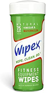 Wipex Natural Gym & Fitness Equipment Wipes for Personal Use, 75 Ct - Great for Yoga, Pilates, Dance Studios, Home Gym, Peloton Bikes, Spas, Salons, Watermelon Scent, 1 Canister