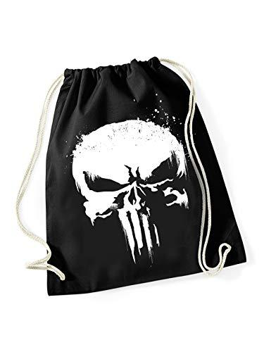 Marvel Punisher Skull Grunge Gym Bag Turnbeutel schwarz/weiß, Bedruckt, 100% Baumwolle.