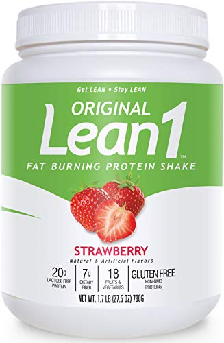 Lean1 Fat Burning Meal Replacement Protein Shake, Strawberry flavor, 15 serving tub