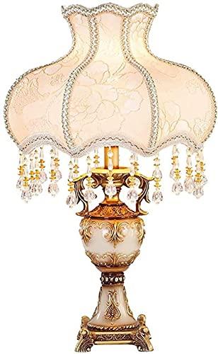 HTOUR Lámpara de Mesa, lámpara de Mesa Europea de Lujo, Dormitorio, mesita de Noche, lámpara de Mesa de Princesa de Tela de jardín francés de Lujo, lámpara de Escritorio Creativa Retro