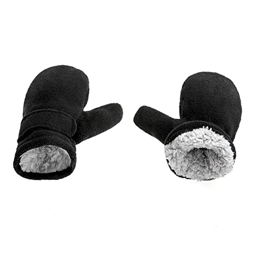 HAIO Winter Warmth and Thickened Gloves, Children' s Winter Mittens Lined with Fleece, Children Easy to Wear Outdoor Mittens (Color : Black, Size : X-Large)