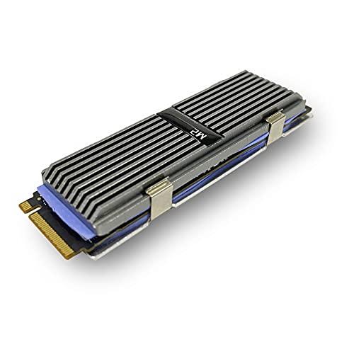 GeekerChip M.2 2280 Radiateur Chipset de Chaleur de Refroidisseur Refroidissement Fin,SSD Refroidisseur en Aluminium avec Coussinet Thermique en Silicone(Argent)