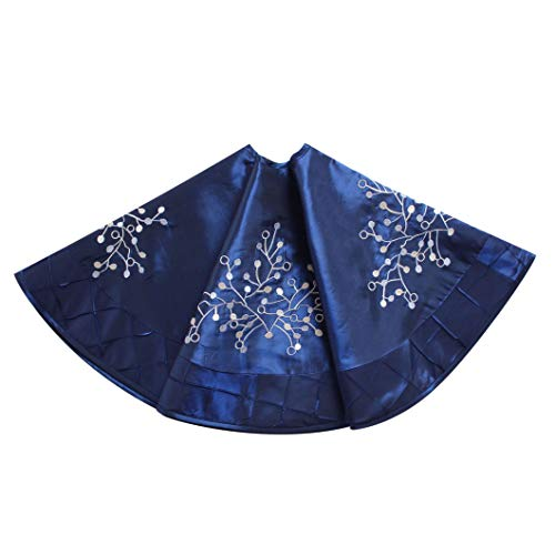 Gireshome Blue Faux Silk Deluxe Berry Embroidered Center, Handcraft Pintuck Border, Christmas Tree Skirt ,Xmas Christmas Holiday Party Decorations-36inch