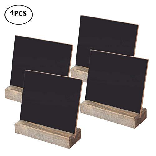 Tebery 4 Holz Tafel Set, Kreidetafel Memotafel mit Stand-Füße als Tischkarte Platzkarte Namen Preis Schild für Landhaus Buffet Party Deko Vintage Hochzeit Tischdeko Maße: 16,5 x 15 x 5,5 cm