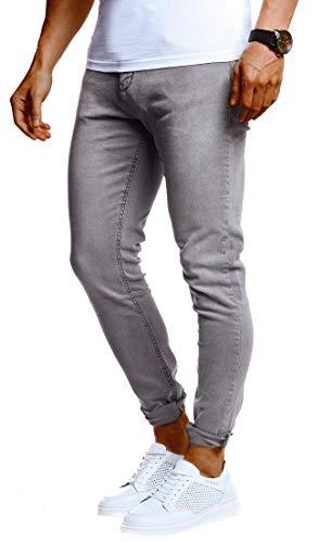 Leif Nelson Herren Jeans Hose Slim Fit Denim Blaue Graue Lange Jeanshose für Männer Coole Jungen weiße Stretch Freizeithose Schwarze Cargo Chino Sommer Winter Basic LN301 Grau W38/L30