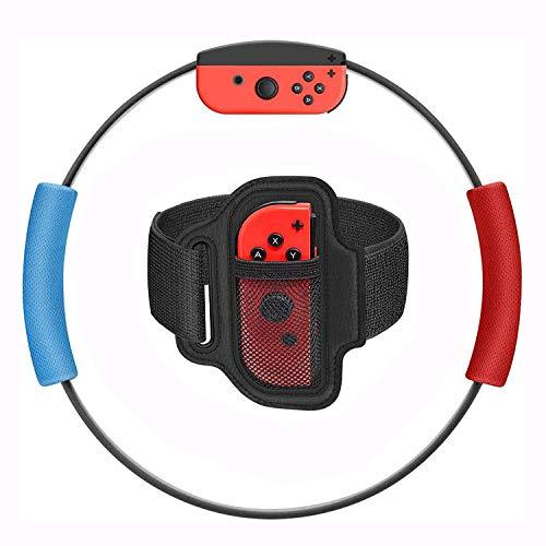 Ring Fit Adventure voor Nintendo Switch accessoires, inclusief 1 fitness-ring ring-con, 1 verstelbare elastische beenbevestigingsriem en 2 stoffen handgrepen voor ring-con lussen, avontuur spelen, yoga volwassenen.