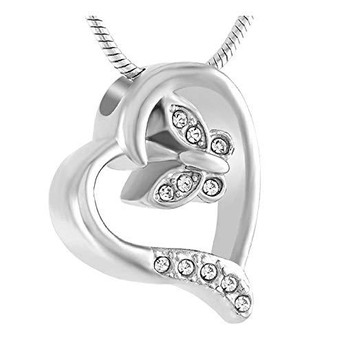 Wxcvz Collar de urna de cremación Elegante Cristal Mariposa con Ajuste de corazón Collar de cremación joyería de urna Conmemorativa para Colgante de Cenizas