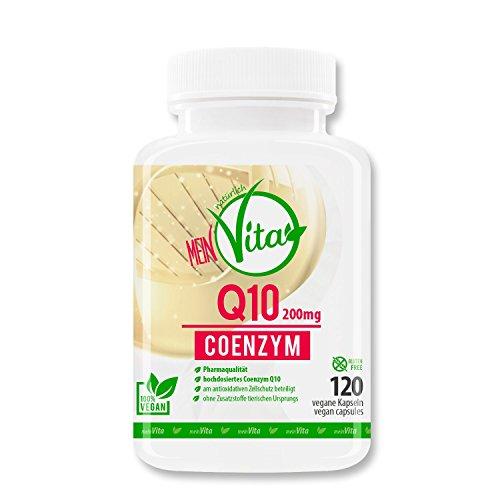 MeinVita Coenzym Q10- 200mg - extra hochdosiert - 120 Kapseln - 100% Vegan - Bioaktiv, 4 Monatsvorrat, Premium Q10 aus pflanzlicher Fermentation, hergestellt in Deutschland
