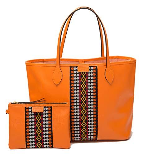 SOLTAKO ELYSSA | Hoogwaardige Dames Lederen Handtas Schoudertas Shopper Tote Leren Tas - Set incl. pochette handgemaakte tas van echt runderhuid met modieus canvas